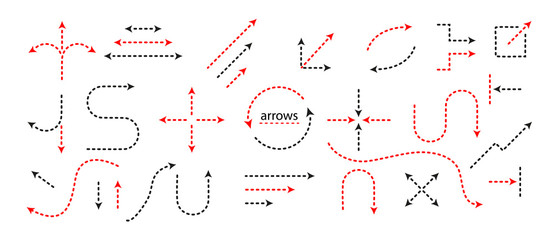 Big Set Arrows and directions signs. dotted line and arrow. Vector black and red isolated on white background. Easily edit the thickness of lines.