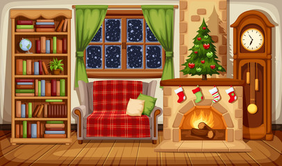 Vector illustration of a Christmas living room with fireplace, sofa, bookcase, clock and fir-tree.
