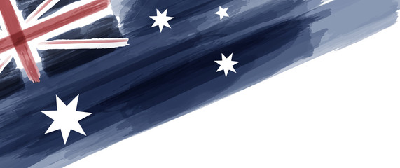 Australia National Day. Australian Flag with stripes and national colors. Watercolors. Fotomurales
