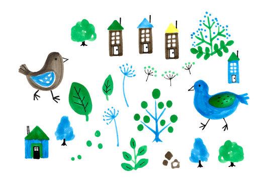 青い鳥と木と家の手描きイラスト
