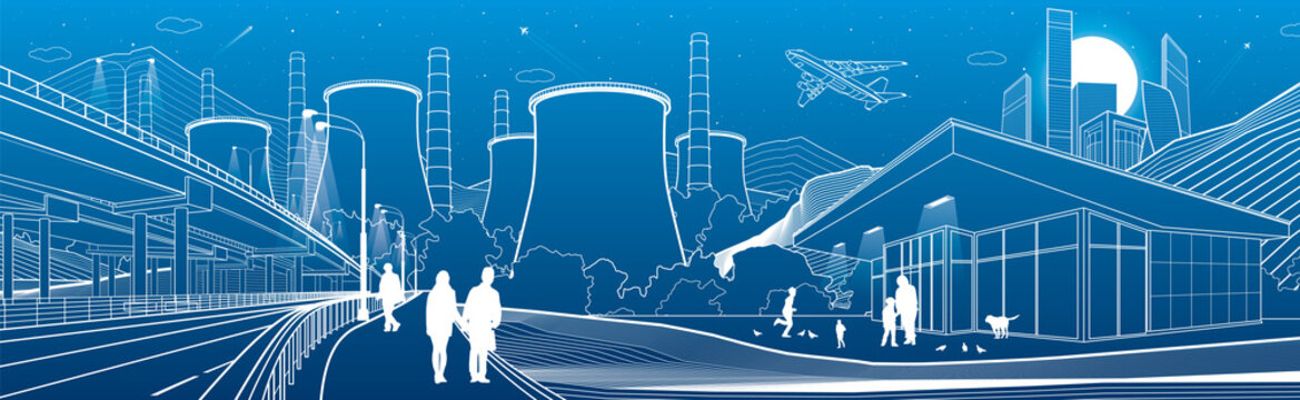 Outline industry and city panorama. Evening town urban scene. People walking at garden. Illuminated highway  Night shop. Power Plant in mountains. White lines on blue background. Vector design art