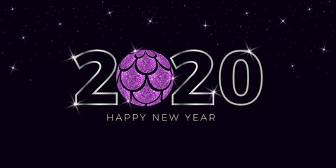 Happy New Year  2020 with Christmas ball and mermaid scales vector background  illustration