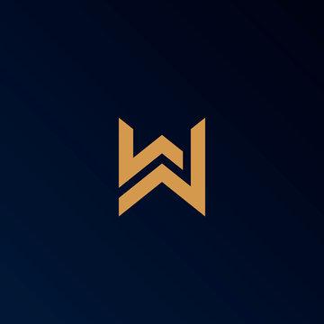 Letter W logo template. Unique modern creative elegant logotype. Vector icon.