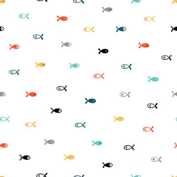 Small Fishes Seamless Pattern. Background for Kids with Hand drawn Doodle Cute Fish. Cartoon Sea Animals Vector illustration in Scandinavian style