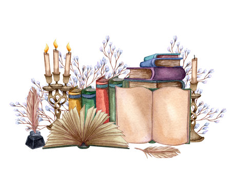 Hand Drawn watercolor illustration a pile of old books, ink bottle, ink feather, floral twig, open book, rare paper, candles. Antique objects. Old and rare books together with artifacts.