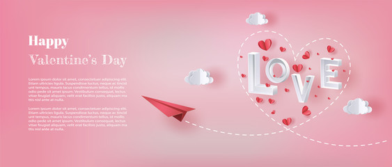 Paper plane flying in the sky with letter LOVE and many hearts floating, paper art style, flat-style vector illustration.