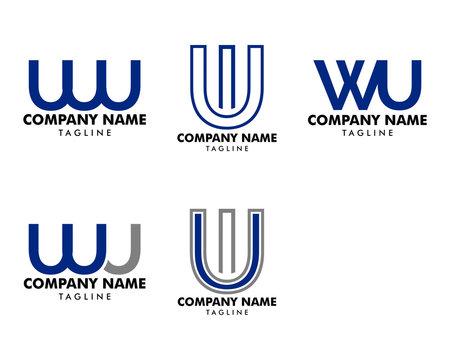 Set of Initial Letter WU Logo Template Design