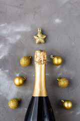 In de dag Hoogte schaal Christmas background abstract made of champagne bottle and decoration balls and star.