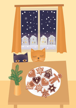 Cats waiting for Christmas