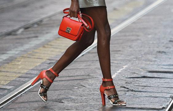 September 21, 2018: Milan, Italy - Street style outfits in detail during Milan Fashion Week  - MFWSS19