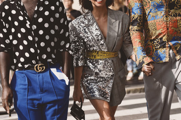 September 22, 2018: Milan, Italy - Street style outfits in detail during Milan Fashion Week  - MFWSS19