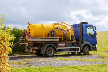 Sewage Tank truck. Sewer pumping machine. Septic truck
