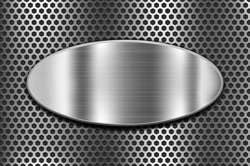 Metal oval shield on perforated background