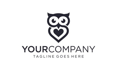 Aluminium Prints Owls cartoon Simple and creative owl logo design vector