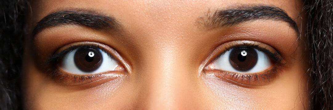 Letterbox view of black woman eyes