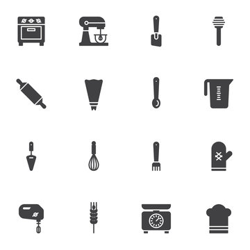 Pastry cooking utensils vector icons set, Bakery kitchenware modern solid symbol collection, filled style pictogram pack. Signs, logo illustration. Set includes icons as stove, food processor, mixer
