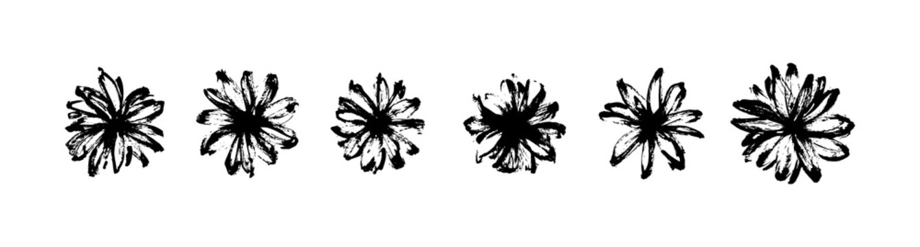 Vector set of hand drawn abstract modern flowers painted by ink. Grunge style brush painting vector blossom silhouettes. Black isolated imprint on white background