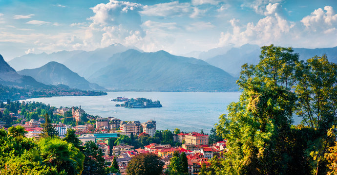 Aerial morning cityscape of Stresa town. Amazing summer view of Maggiore lake, Province of Verbano-Cusio-Ossola, Italy, Europe. Traveling concept background.