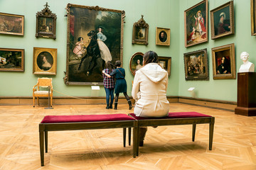 Moscow Russia - on April 6, 2016. People visit the State Tretyakov Gallery in Moscow, Russia. The gallery is the largest repository of Russian art in the world.