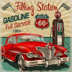 Keuken foto achterwand Cars Filling station retro poster