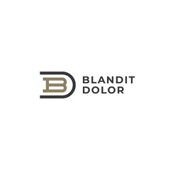 Obraz BD or DB. Monogram of Two letters B&D or D&B. Luxury, simple, minimal and elegant BD, DB logo design. Vector illustration template. - fototapety do salonu
