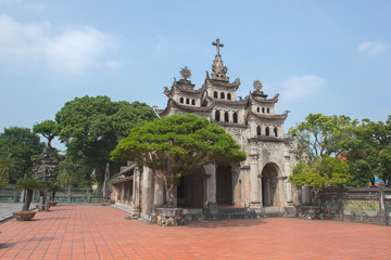 Foto op Aluminium Theater Phat Diem Stone Cathedral, Phat Diem church is a cross between Vietnamese and European styles, It took 24 years to build this church from 1875 to 1898., near Ninh Binh, Vietnam