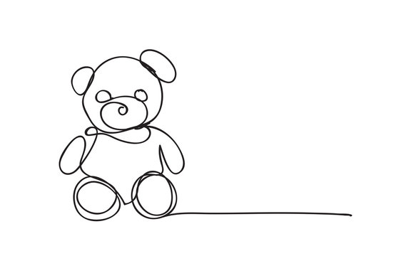 Teddy Bear, line drawing style,vector design
