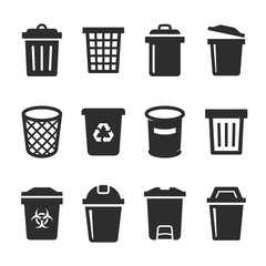 set of vector trash can icon