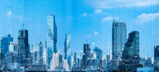 5G network wireless systems and Network Telecommunication Connect Concept.5G network digital hologram and internet of things on cityscape.Technology Digital Connectivity and Information Transfer. Wall mural
