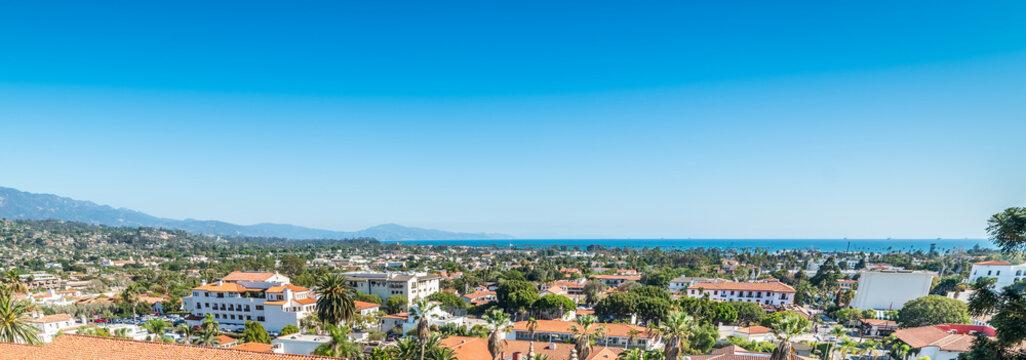 Blue sky over Santa Barbara cityscape