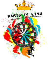 dart sport sign, symbol for the great darts event in 2019 free copy space, vector