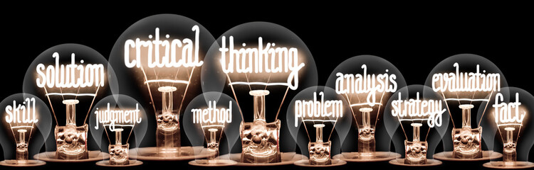 Light Bulbs with Critical Thinking Concept