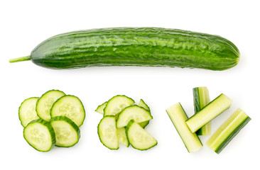 Fototapeta Set of ripe cucumber and sliced heaps on a white. The view of the top. obraz