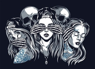 Chicano tattoo style vintage concept