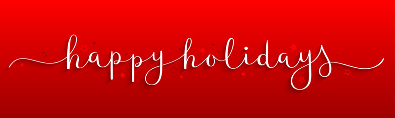 Wall Mural - HAPPY HOLIDAYS vector brush calligraphy banner on red background with snowflakes