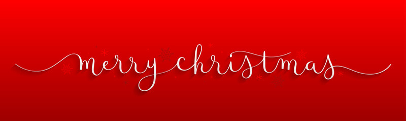 Wall Mural - MERRY CHRISTMAS vector brush calligraphy on red background with snowflakes