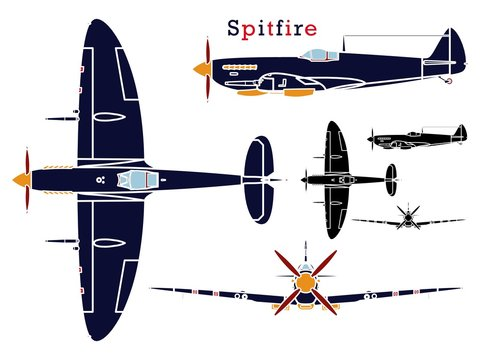 Supermarine Spitfire aircraft WWII without outline.