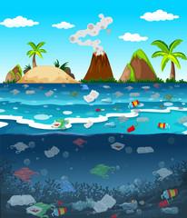 Papiers peints Vert corail Water pollution with plastic bags in ocean