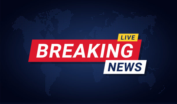 Breaking news banner template. Breaking news background for screensaver, lower third. Red and blue banner on stylized world map background
