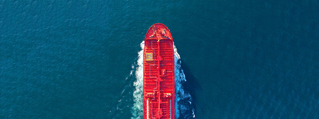 Aerial drone ultra wide panoramic photo of industrial fuel and petrochemical tanker cruising open ocean deep blue sea - fototapety na wymiar