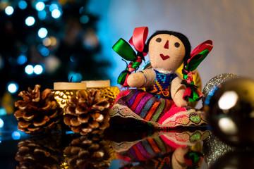 Muñeca tradicional mejicana decoración de navidad