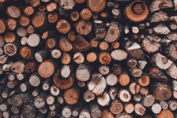 Autocollant pour porte Texture de bois de chauffage The texture of the wall is firewood, which is laid out very neatly.