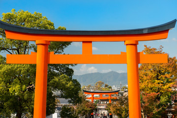 Torii gate in Fushimi Inari Shrine, Kyoto, Japan