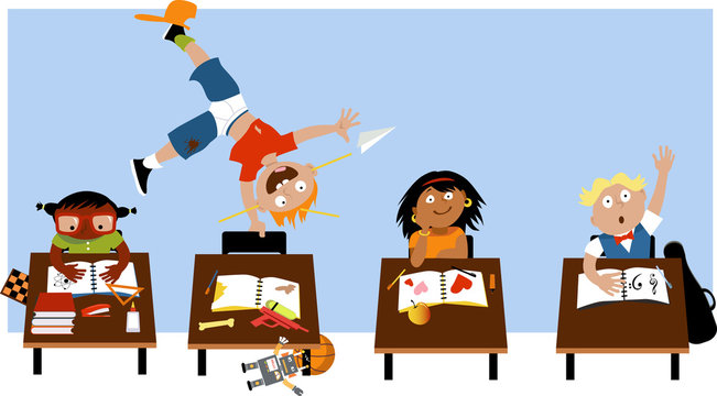 Child with ADHD acting out in a classroom, EPS 8 vector illustration