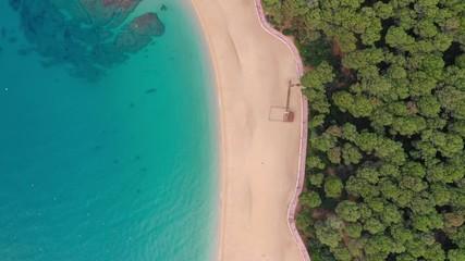 Fototapete - Tropical beach and sea bay aerial top view