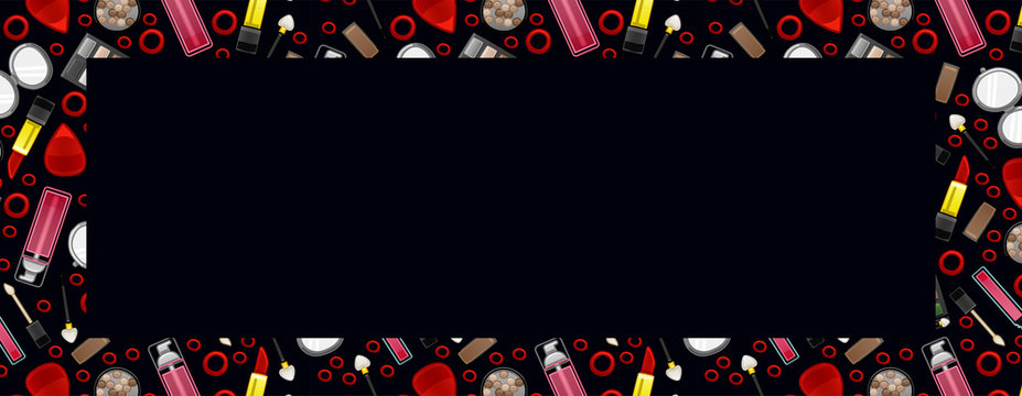Banner with beauty products pattern and place for text on black background