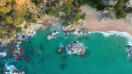 Fototapete - Sea bay with sand beach cliffs with green forest