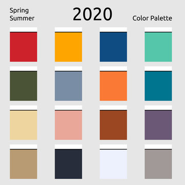 Spring Summer 2020 Colors Palette. Fashion trend of the year.Palette fashion colors guide with named color swatches.