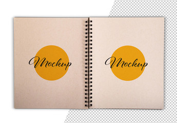 Open Notebook Mockup with Leaves of Craft Paper