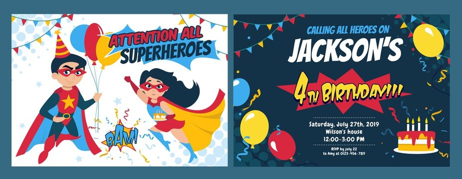 Birthday party invitation card with cute girl and boy heroes vector illustration. Festive inviting template with superheroes, balloons and holiday cake. Kids birth concept